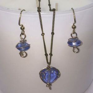 wire wrapped blue glass earrings and necklace NWOT